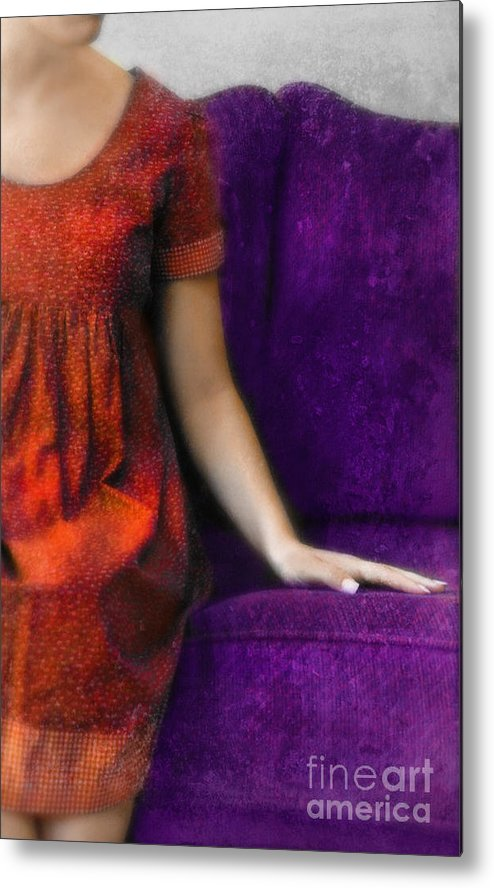 Woman Metal Print featuring the photograph Young Woman In Red On Purple Couch by Jill Battaglia
