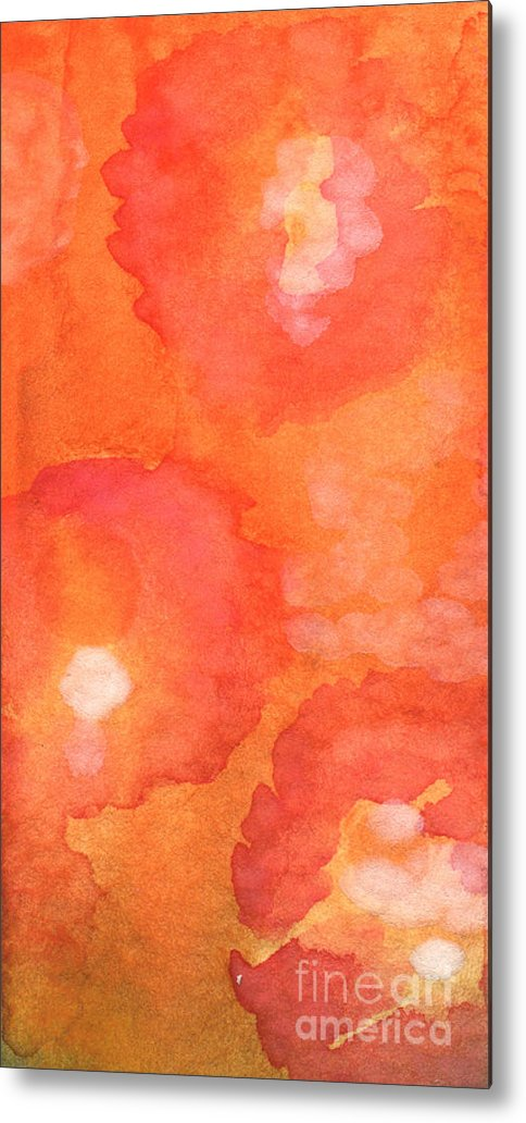 Abstract Flowers Metal Print featuring the painting Tuscan Roses by Linda Woods