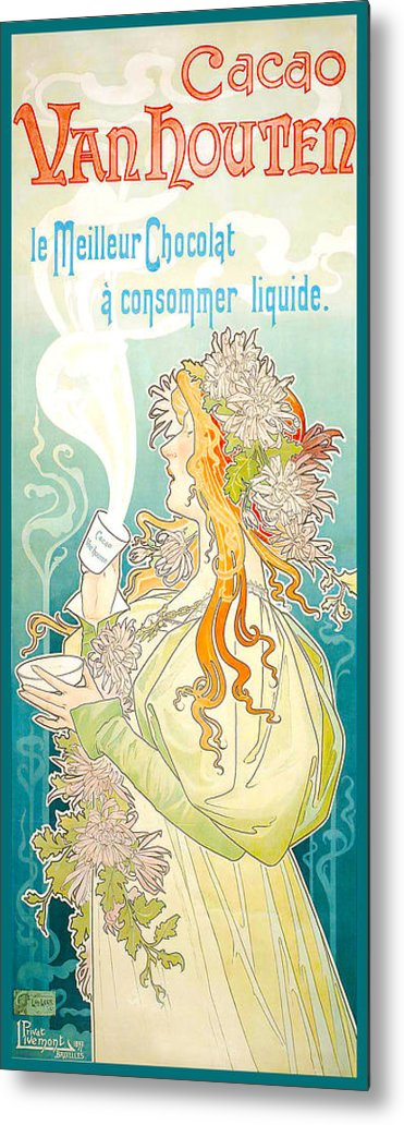 Women Metal Print featuring the digital art Cacao Van Houten by Henri Pivat Livemont