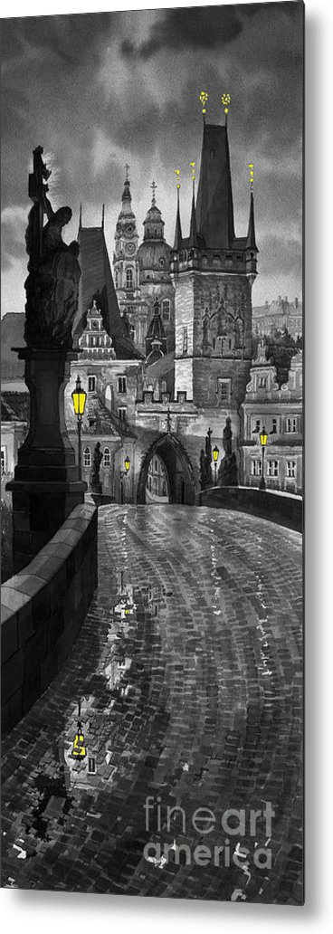 Prague Metal Print featuring the painting Bw Prague Charles Bridge 03 by Yuriy Shevchuk