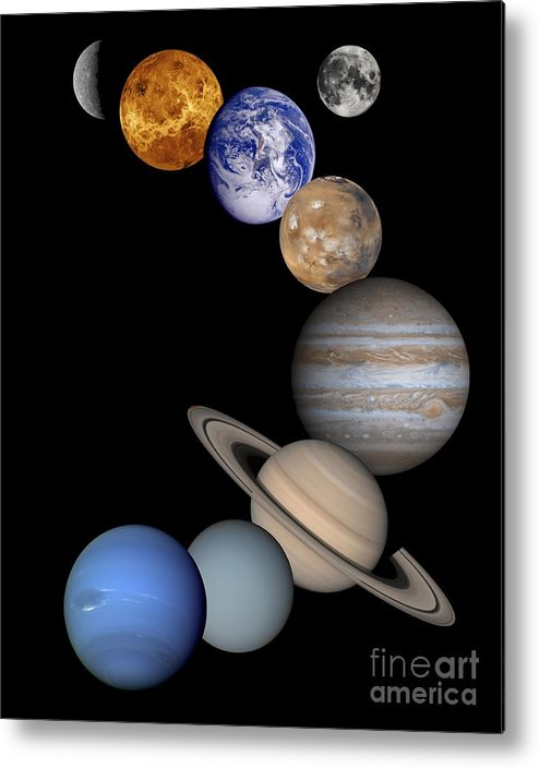 Solar; System; Montage; Astronomy Metal Print featuring the drawing Solar System Montage by Anonymous
