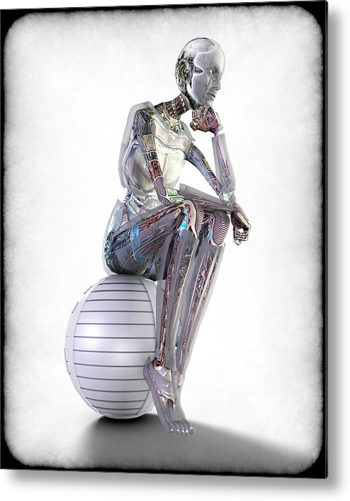 Robot Metal Print featuring the digital art The Thinking Machine by Frederico Borges