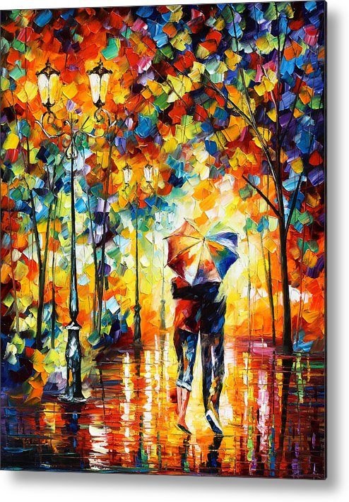 Under Metal Print featuring the painting Under One Umbrella by Leonid Afremov