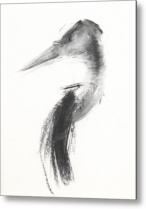Heron Metal Print featuring the drawing Rcnpaintings.com by Chris N Rohrbach