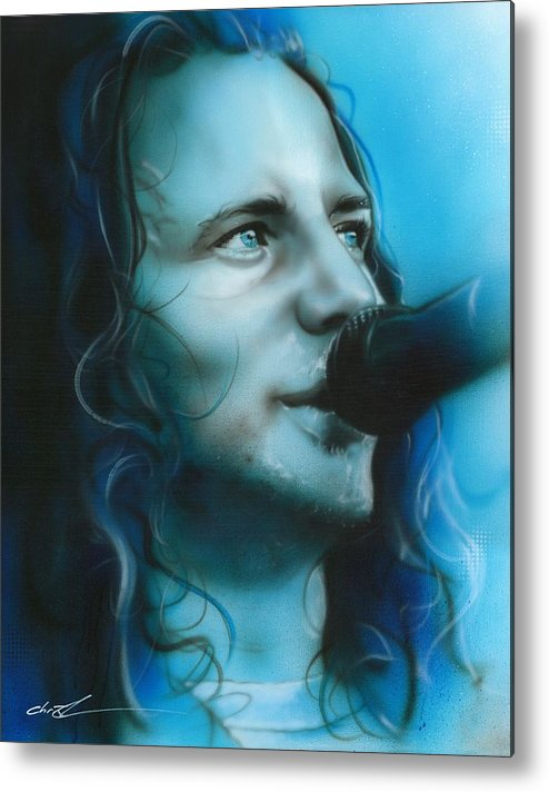 Eddie Vedder Metal Print featuring the painting 'arms Raised In A V' by Christian Chapman Art
