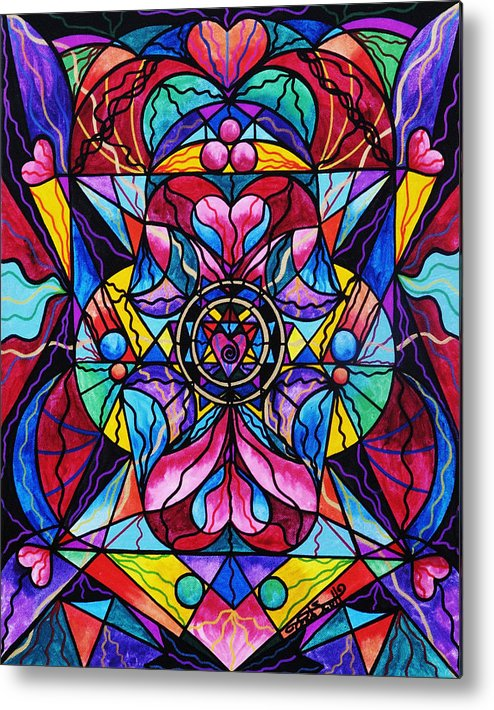 Blue Ray Healing Metal Print featuring the painting Blue Ray Healing by Teal Eye Print Store