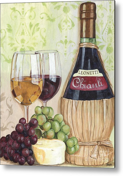 Wine Metal Print featuring the painting Chianti And Friends by Debbie DeWitt