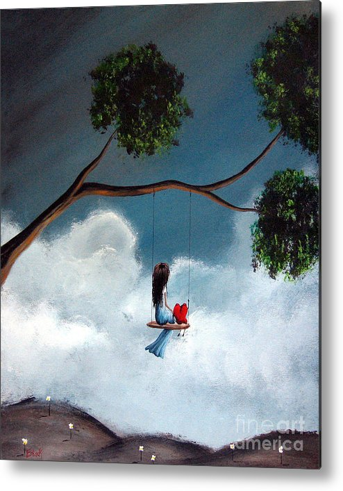 Child Metal Print featuring the painting Comfortable Silence By Shawna Erback by Shawna Erback
