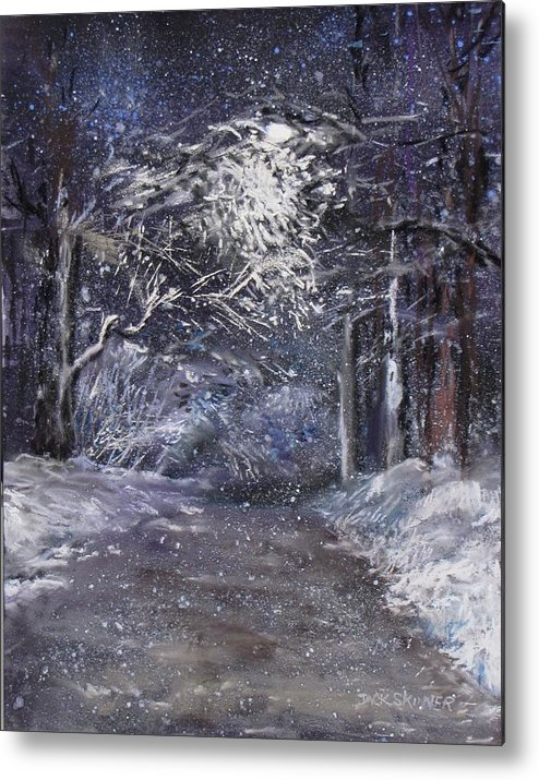 Snow Metal Print featuring the painting Country Road On A Wintery Night by Jack Skinner