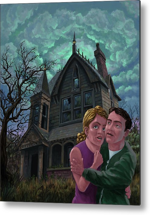 Ghost Metal Print featuring the painting Couple Outside Haunted House by Martin Davey