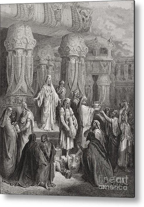 King Of The Persians Metal Print featuring the painting Cyrus Restoring The Vessels Of The Temple by Gustave Dore
