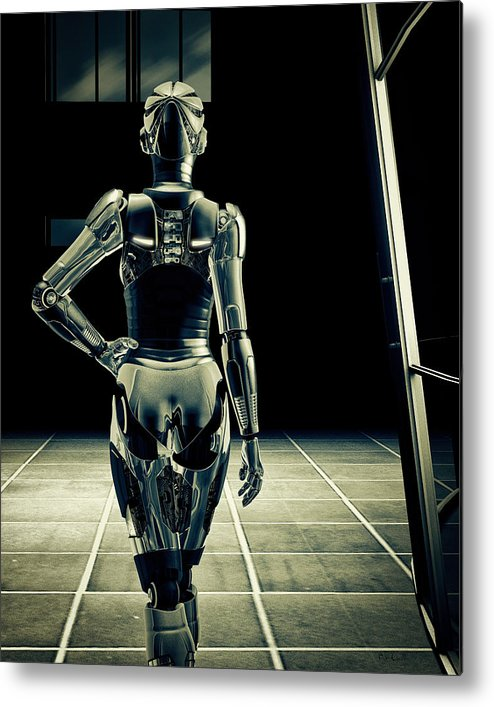 Technology Metal Print featuring the digital art Dark Hall by Bob Orsillo