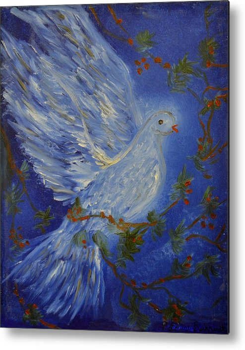 Dove Metal Print featuring the painting Dove Spirit Of Peace by Louise Burkhardt