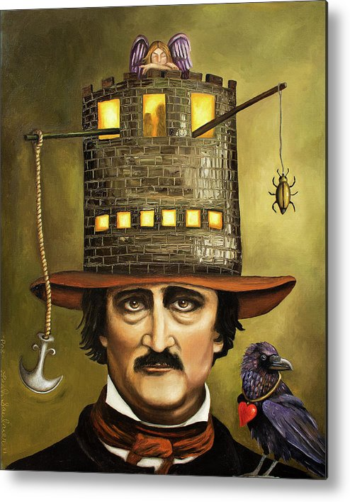 Poe Metal Print featuring the painting Edgar Allan Poe by Leah Saulnier The Painting Maniac