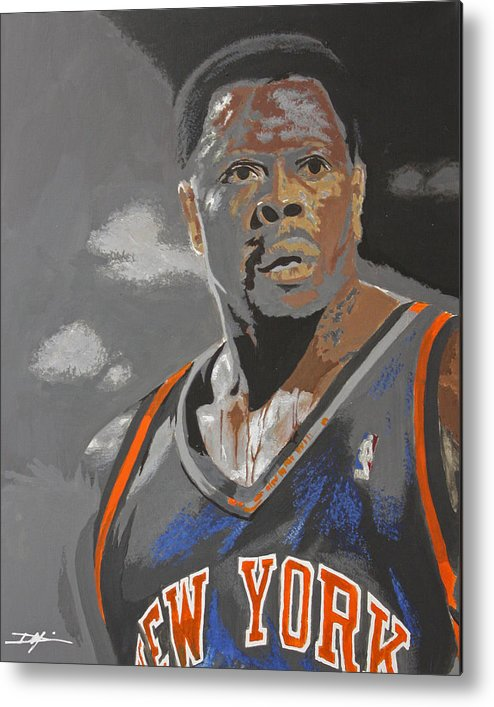 New York Knicks Metal Print featuring the drawing Ewing by Don Medina