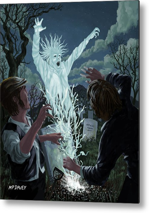 Graveyard Metal Print featuring the painting Graveyard Digger Ghost Rising From Grave by Martin Davey
