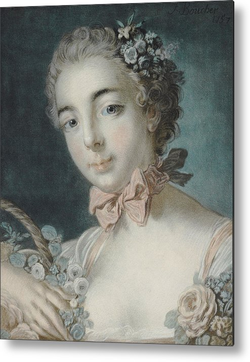 Flora Metal Print featuring the pastel Head Of Flora by Francois Boucher