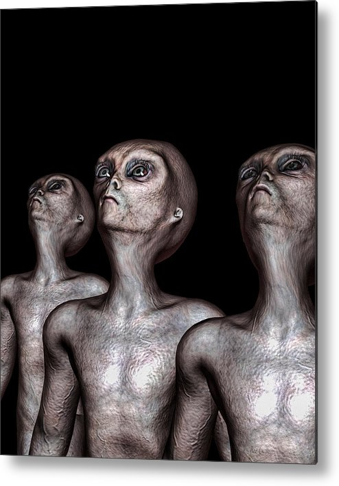 Alien Abduction Metal Print featuring the digital art If One Was Three by Bob Orsillo
