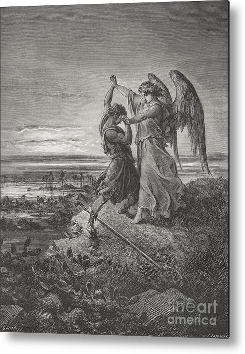 Wrestle Metal Print featuring the painting Jacob Wrestling With The Angel by Gustave Dore