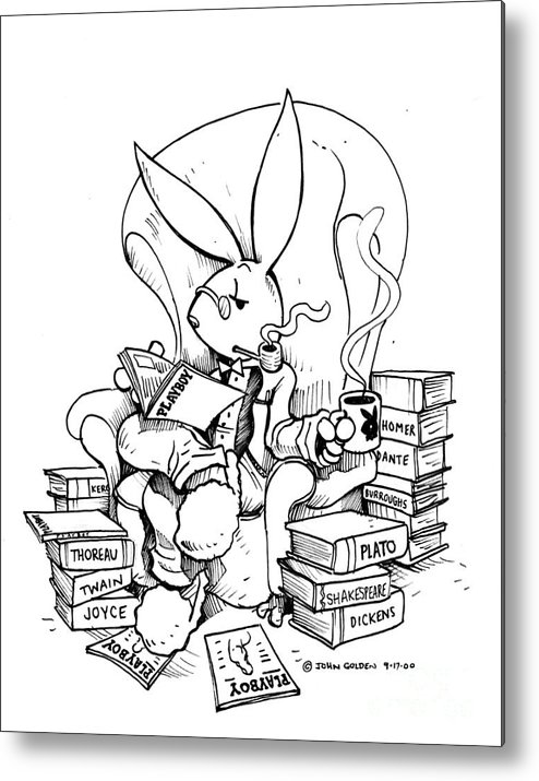 Playboy Metal Print featuring the drawing Literary Playboy by John Ashton Golden