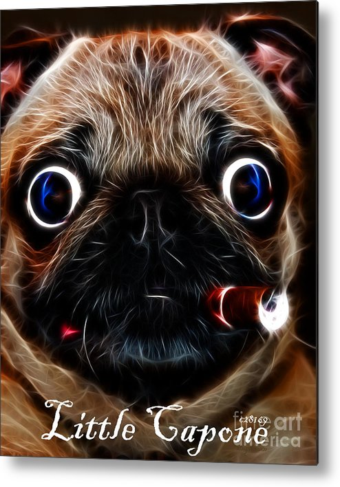 Animal Metal Print featuring the photograph Little Capone - C28169 - Electric Art - With Text by Wingsdomain Art and Photography