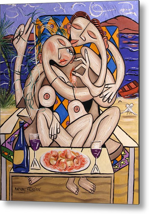 Love On A Deserted Island Shrimp Scallops And Linguine Metal Print featuring the painting Love On A Deserted Island Shrimp Scallops And Linguine by Anthony Falbo