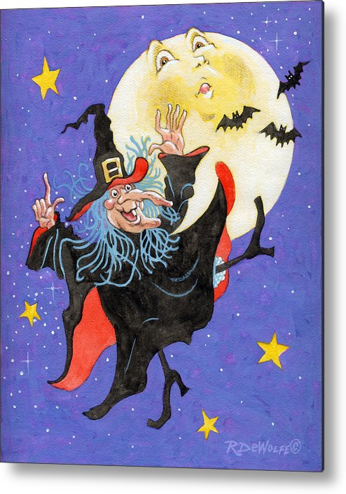 Halloween Metal Print featuring the painting Mad Millie Moon Dance by Richard De Wolfe