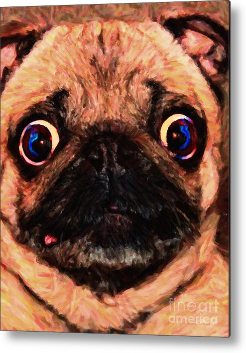 Animal Metal Print featuring the photograph Pug Dog - Painterly by Wingsdomain Art and Photography