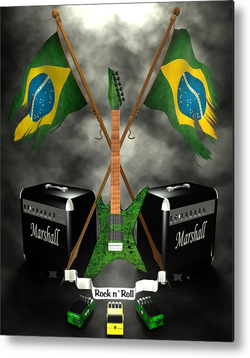 Rock N Roll Metal Print featuring the digital art Rock N Roll Crest - Brazil by Frederico Borges