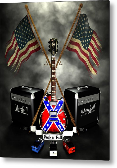 Usa Metal Print featuring the digital art Rock N Roll Crest- Usa by Frederico Borges