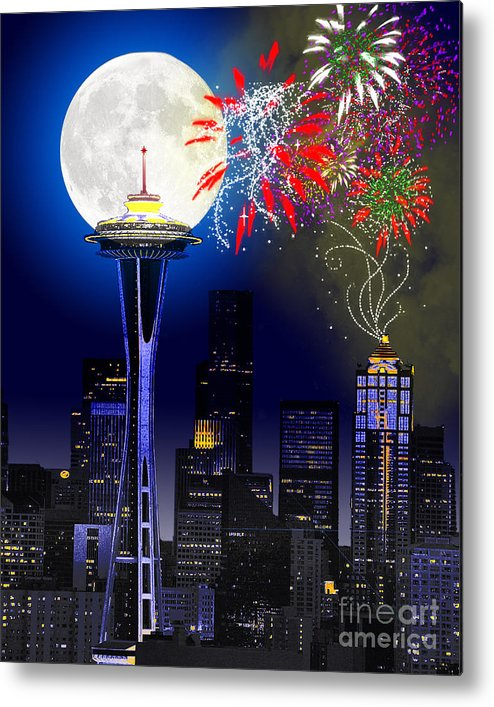 Seattle Skyline Metal Print featuring the painting Seattle Skyline by Methune Hively