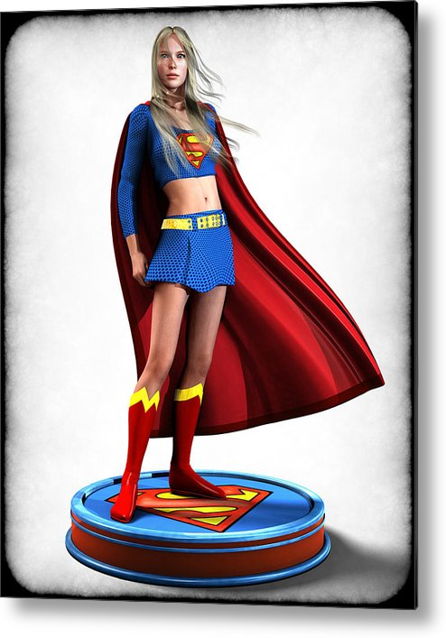 Super Girl Metal Print featuring the digital art Super Girl V1 by Frederico Borges