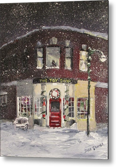 Christmas Metal Print featuring the painting The Toy Shop by Jack Skinner