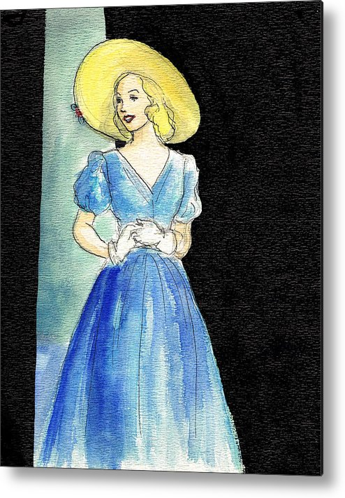 Nostalgia Metal Print featuring the drawing Blue Gown by Mel Thompson
