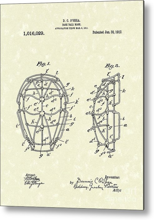 Baseball Metal Print featuring the drawing Baseball Mask 1912 Patent Art by Prior Art Design