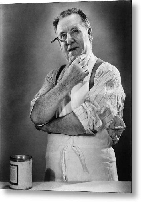 50-54 Years Metal Print featuring the photograph Carpenter Posing In Studio, (b&w) by George Marks