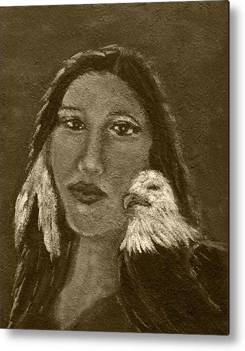 Native American Metal Print featuring the painting Onawa Native American Woman Of Wisdom With Eagle In Sepia by The Art With A Heart By Charlotte Phillips