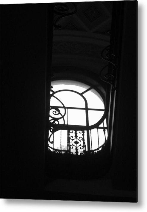 Window Silhouette From A Stairwell Metal Print featuring the photograph A Glimpse Of Sky by Lindsey Orlando