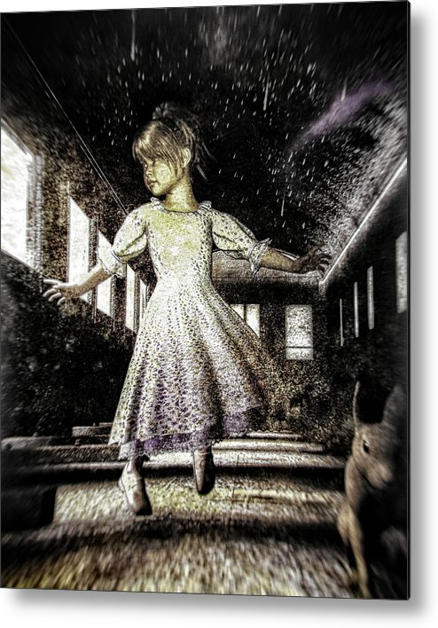 Alice In Wonderland Metal Print featuring the photograph Alice And The Rabbit by Bob Orsillo