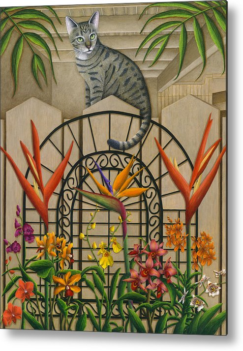 Gray Tabby Cat Metal Print featuring the painting Cat Cheetah's Fence by Carol Wilson