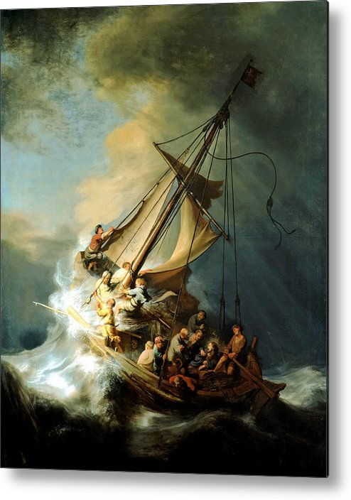 Christ In Storm Metal Print featuring the painting Christ In The Storm by Rembrandt
