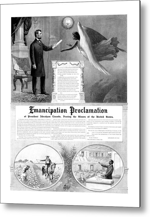 Emancipation Proclamation Metal Print featuring the drawing Emancipation Proclamation by War Is Hell Store