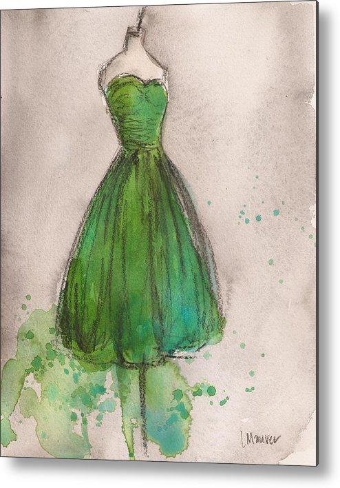 Green Metal Print featuring the painting Green Strapless Dress by Lauren Maurer