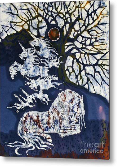 Horse Metal Print featuring the tapestry - textile Horse Dreaming Below Trees by Carol Law Conklin