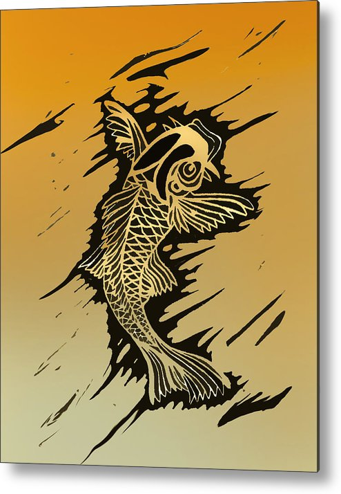 Linoleum Prints Metal Print featuring the painting Koi 2 by Jeff DOttavio