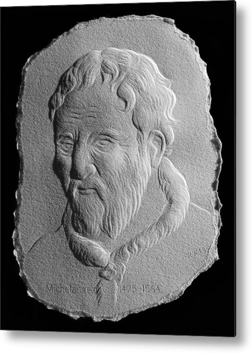 Portrait Metal Print featuring the relief Michelangelo by Suhas Tavkar