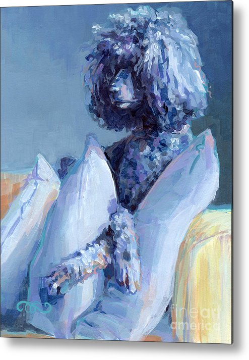 Black Dog Metal Print featuring the painting Ready For Her Closeup by Kimberly Santini