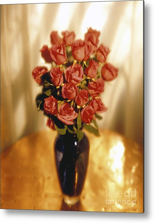 Red Metal Print featuring the photograph Roses by Tony Cordoza