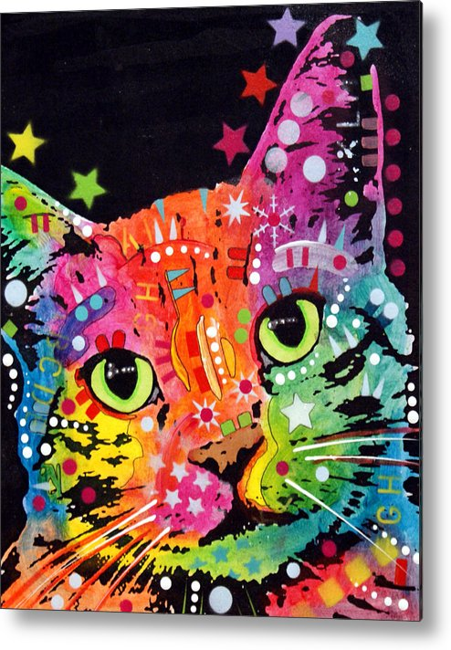 Dean Russo Metal Print featuring the painting Tilted Cat Warpaint by Dean Russo