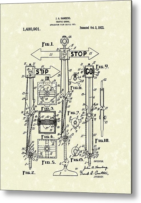 Hamberg Metal Print featuring the drawing Traffic Signal 1922 Patent Art by Prior Art Design